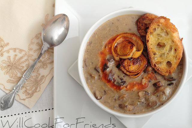 Cream of Mushroom Soup - served with roasted garlic crostini and beet ...