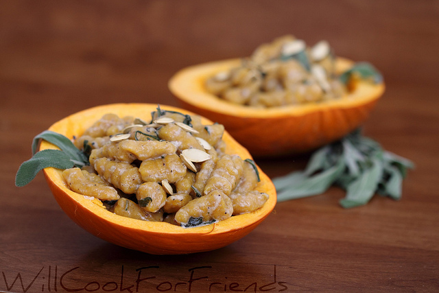 Pumpkin gnocchi with brown butter sage sauce and garnished with salty ...