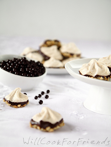 Chocolate Dipped Peanut Butter Meringue Cookies, 2/3