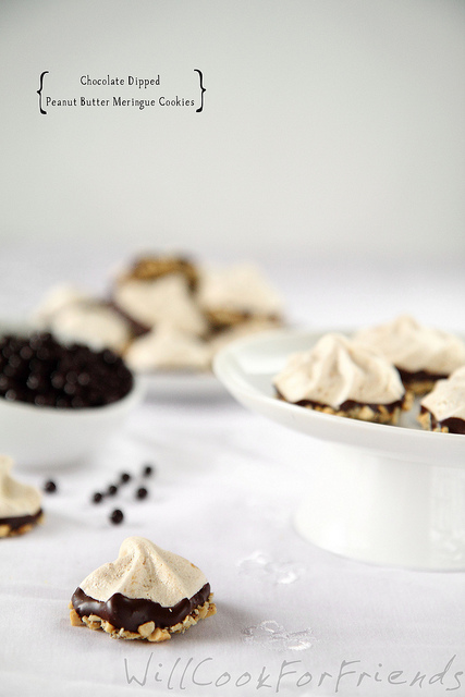 Chocolate Dipped Peanut Butter Meringue Cookies, 1/3