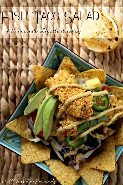 Fish Taco Salad with Avocado Chipotle Dressing