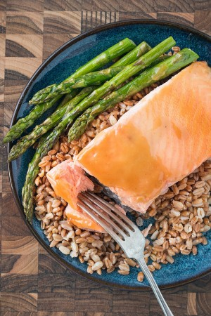 Maple Dijon Glazed Salmon with Farro and Asparagus | Will Cook For ...