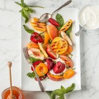 Stone Fruit Salad with Yogurt Honey and Mint