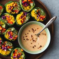 collard-rainbow-rolls-with-turmeric-rice-and-spicy-peanut-sauce