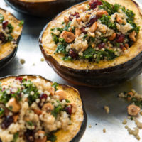 Stuffed Acorn Squash with Hazelnuts, Quinoa, and Kale