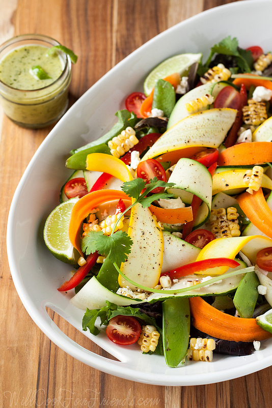 Summer Produce Salad with Cilantro Lime Dressing - Simple and Healthy