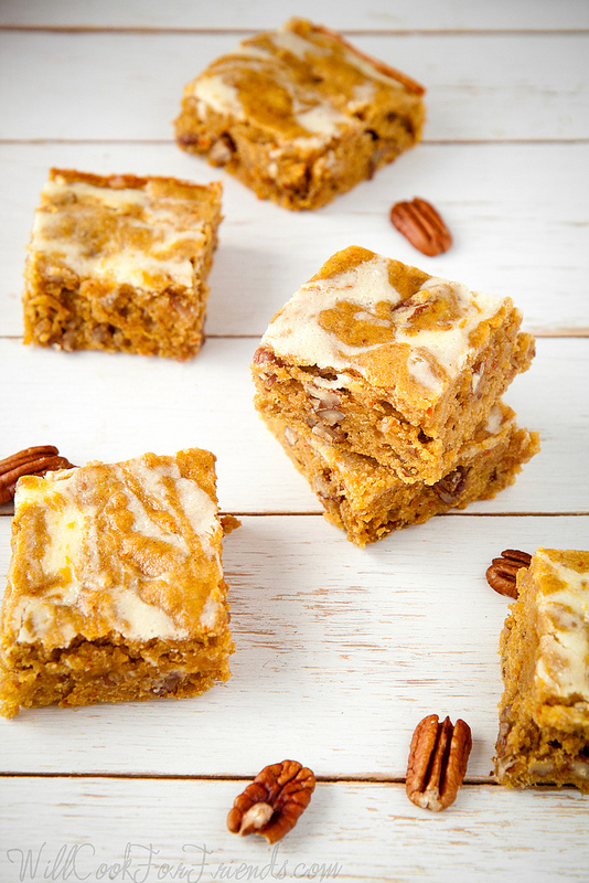 Pumpkin Pecan Blondies with Cream Cheese Swirl - Pumpkin Pie, Squared