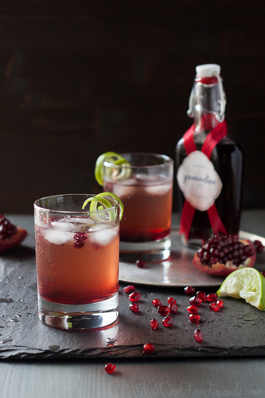 Pomegranate Ginger Fizz with Homemade Grenadine
