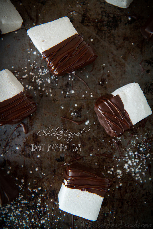 Chocolate Dipped Orange Zest Marshmallows by Will Cook For Friends (who knew homemade marshmallows were so easy?