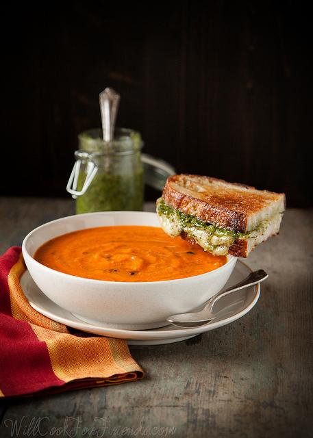 Garden Fresh Tomato Basil Soup with Pesto Grilled Cheese
