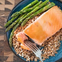 Maple Dijon Glazed Salmon with Farro and Asparagus | Will Cook For Friends