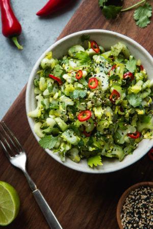 Sweet & Sour Celery Cilantro Salad